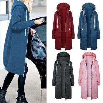 JAYCOSIN 2019 Autumn Winter Casual Women Long Hoodies Sweatshirt Coat Zip Up Outerwear Hooded Jacket Plus Size velvet Outwear 12