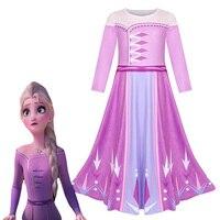 Christmas clothes Halloween Party costume Cartoon Cosplay Baby toddler Dresse Anna elsa Princess long sleeve jurk Girl Dress