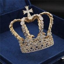 Męski krzyż korona barokowa ślubna korona ślubna królewska królowa król Tiara urodzinowy występ na imprezie akcesoria na głowę biżuteria Diadem