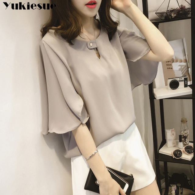 short sleeve 2020 summer women's shirt blouse for women blusas womens tops and blouses chiffon shirts ladie's top plus size 1