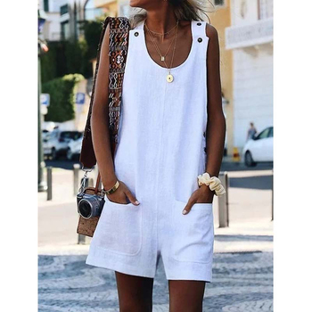 women sexy spaghetti strap sleeveless wide leg jumpsuit summer elegant solid casual rompers pockets playsuits loose overalls Women Rompers Sleeveless Button Pockets Playsuits Cotton Linen Strap Overalls Short Pants Solid Casual Loose Jumpsuit