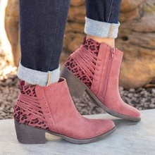MoneRffi Ankle Boots For Women Chunky Boots High Heel Autumn Winter Pointed Toe Booties Woman Fashion Zipper Suede Boots 2019(China)