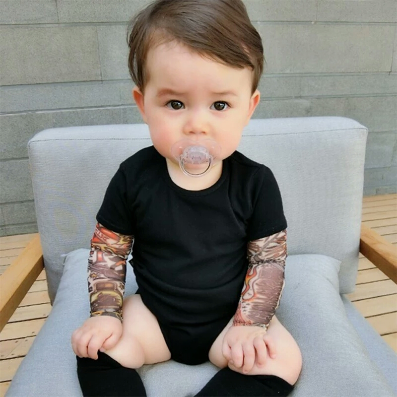 Baby Bodysuit Boys Girls Tattoo Printed Patchwork Jumpsuit newborn costume Casual Outfits Toddler Infant Kids Clothes Bodysuits