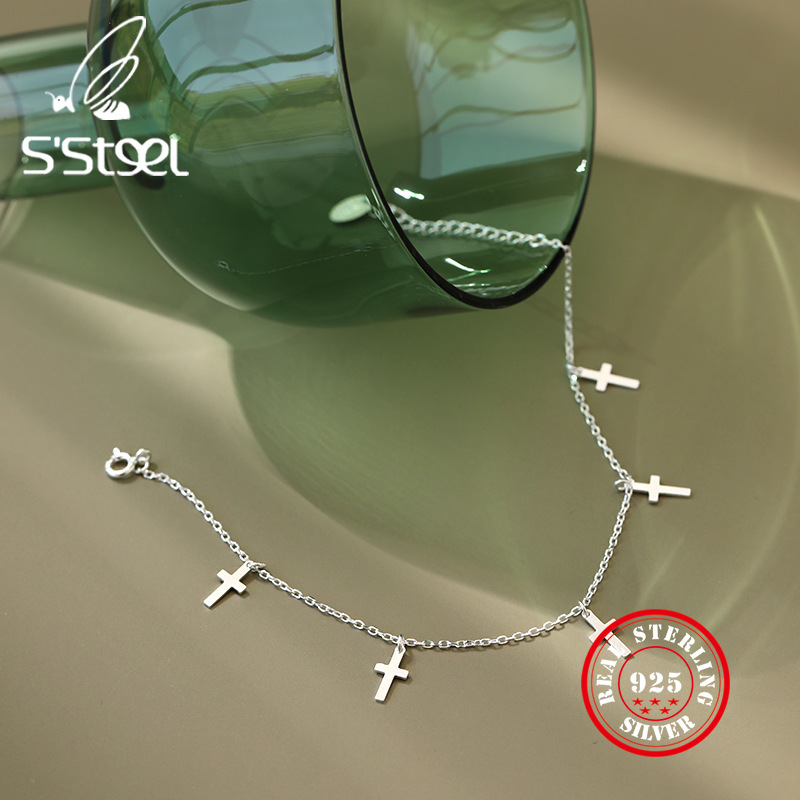 S'steel 925 Sterling Silver Anklets For Women Cross Anklet Party Gifts For Girls Tobillera De Plata De Ley Mujer Fine Jewelry