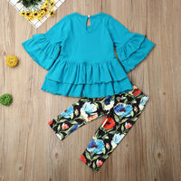 Kids Baby Girl Clothes Flared Sleeve Tops Floral Leggings Pants Outfit Set 2PCS