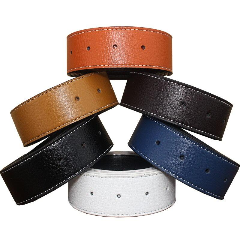Witdh 3.4cm No Buckle Luxury Brand Women Belt Men High Quality Male Genuine Real Leather Strap For Jeans Belt Erkek Kemer