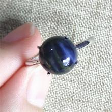 top quality namibia natural pietersite blue light adjustable ring 11x11mm chatoyant round 925 sterling silver aaaaa Genuine Namibia Natural Blue Pietersite Ring 11x11mm Chatoyant Gemstone Adjustable Size Woman 925 Sterling Silver AAAAA
