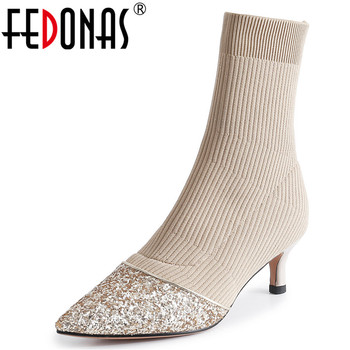 FEDONAS Female New Warm Stretch Fabric Women Ankle Boots Slip On Socks Boots Sexy High Heels Party Shoes Woman Night Club Shoes