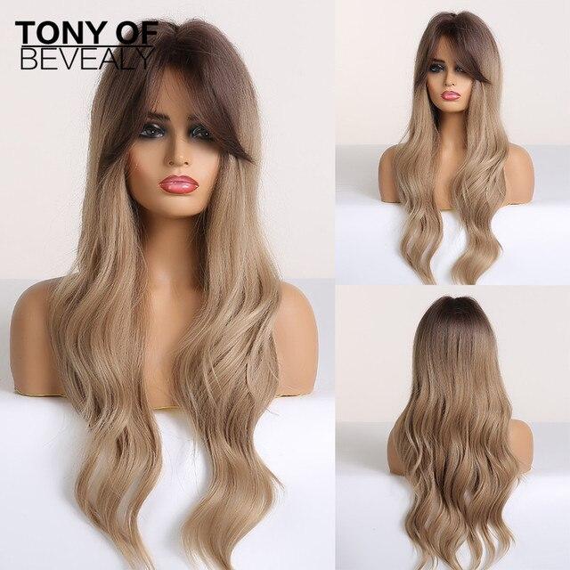 Długie faliste peruki syntetyczne brązowe do blond włosy typu Ombre z grzywką dla kobiet Afo Cosplay peruki środkowa część włókno termoodporne