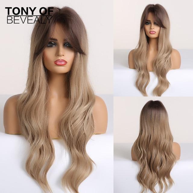 Pelucas sintéticas de pelo largo ondulado para mujer, pelo ombré marrón a rubio con flequillo para mujer, pelucas Afo Cosplay, fibra resistente al calor de parte media