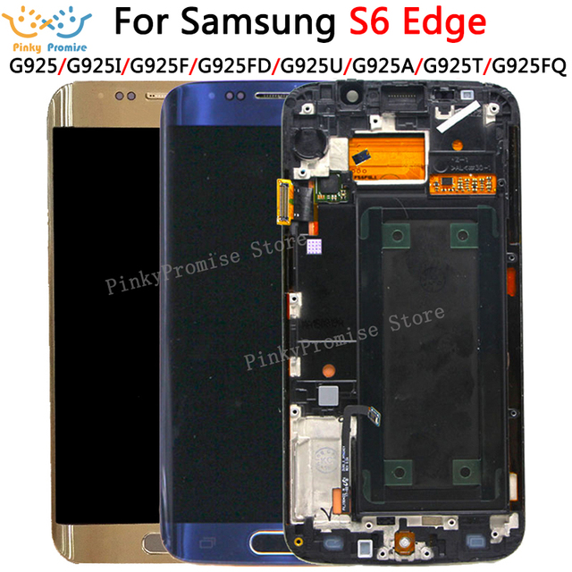 100% test 5.1 süper AMOLED ekran SAMSUNG Galaxy S6 kenar LCD G925 G925I G925F dokunmatik ekran digitizer çerçeve ile