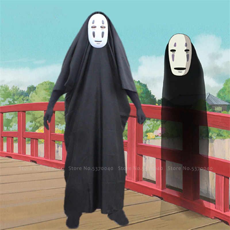 Jepang Anime Spirited Away No Wajah Man Topeng Hitam Panjang Jubah Cosplay Kostum Karnaval Hantu Jubah Jubah Comic Paper Pakaian