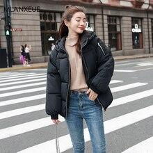 Solid Hooded Down Coats Women Winter Warm Thicken Cotton Parka Zipper Jacket Female Korean Slim Outerwears  Abrigos Para Mujer стоимость
