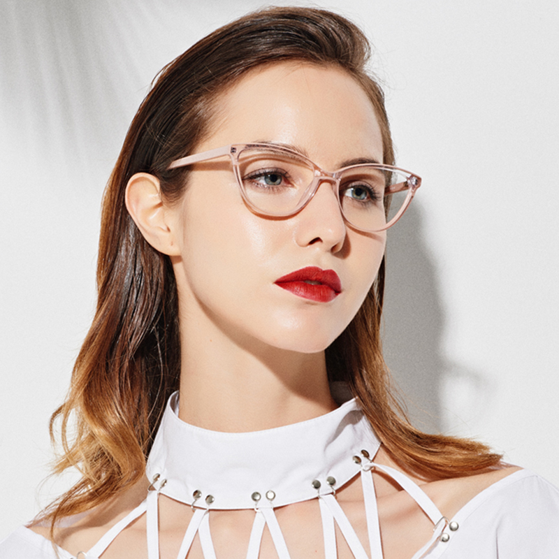 Cat Eye Glasses Frame Women Beige Eyewear Fashion Women Eyeglass Frame Acetate Myopia Glasses Clear Gafas Eyeglasses Frame Women