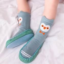 Детские осенние хлопковые носки с героями мультфильмов; теплый нескользящий пол; теплые носки для маленьких мальчиков и девочек