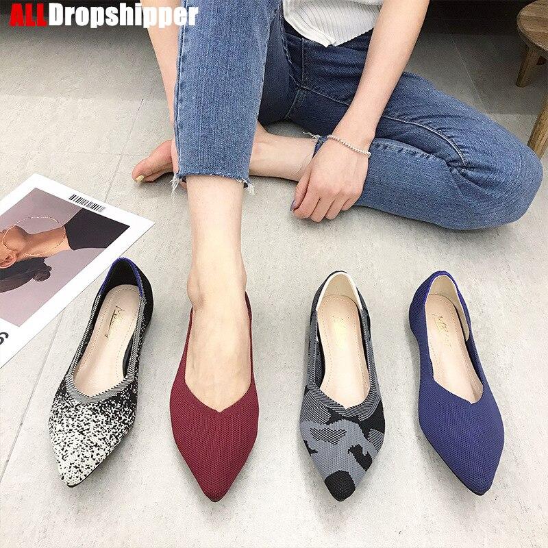 Женские вязаные туфли с острым носком, балетки на плоской подошве, мокасины разных цветов, мягкие туфли для беременных, 2020|Обувь без каблука| | АлиЭкспресс