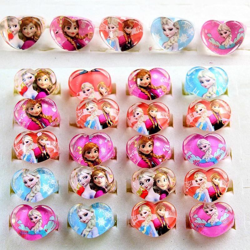 5pcs Disney Princess Frozen Cartoon Children Ring Accessories Girl Children Day Gift Birthday Party Elsa Jewelry Cosmetic Toy