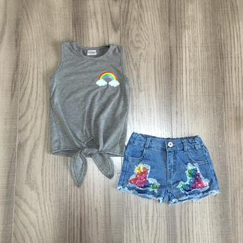 baby girls clothes girl summer outfits sequin jeans shorts with rainbow top