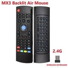 Upgrade MX3 A MX3 M MX3 L Backlit Air Maus Stimme Fernbedienung 2,4G Wireless Tastatur für X96 Mini A95X H96 MAX android TV Box