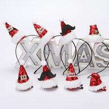 Новинка в виде рождественской шапки головная повязка горячее рождественское, с блестками головная повязка Рождественская шапка Санты вечерние Декор двойной ремешок для волос застежка наголовный обруч
