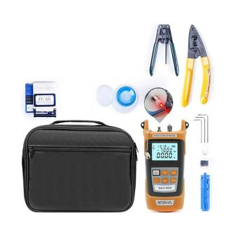 Fiber Optic FTTH Tool Kit With Fiber Cleaver Stripping Pliers Miller's Pliers 5km Red Light Laser Optical Power Meter