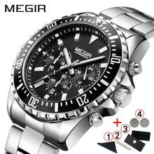 שעונים גברים 2019 MEGIR קלאסי הכרונוגרף נירוסטה שעוני יד זכר מותג יוקרה עמיד למים עסקים שעונים גברים 2019