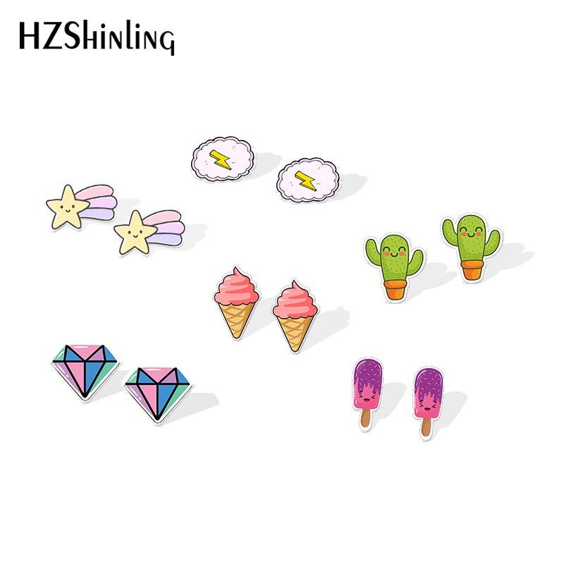 2019 New Rainbow Star Acrylic Earring Cloud Resin Earring Cute Things Cactus Epoxy Stud Earrings(China)