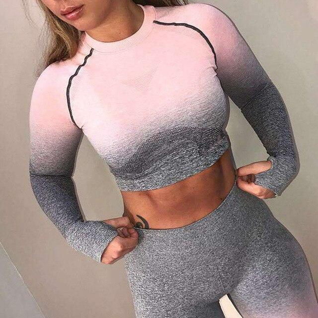 Senza Soluzione di Continuità Leggings Gradiente + Lungo di Yoga Del Manicotto Set Delle Donne Crop Top a Vita Alta Dei Pantaloni di Sport di Palestra Abbigliamento Ombre di Allenamento Sportivo vestito