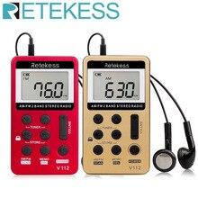 Retekess V112ミニポケットラジオfm am 2バンドラジオ受信機デジタルのチューニング充電式バッテリー & イヤホンF9202