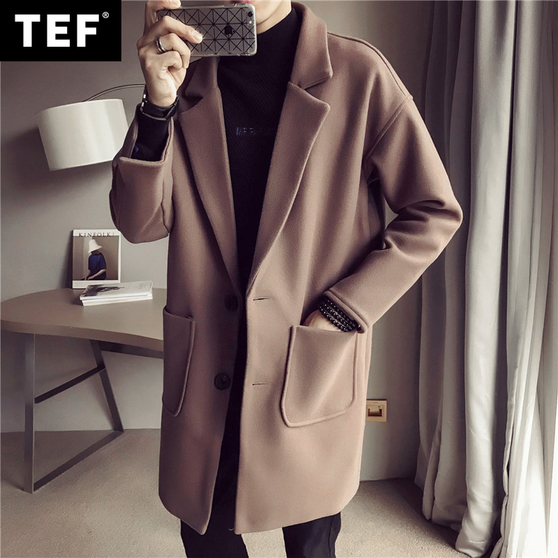 Long Woolen Coat Men's Fashion Solid Color Casual Lapel Woolen Coat Men Streetwear British Style Woolen Jacket MensM-5XL