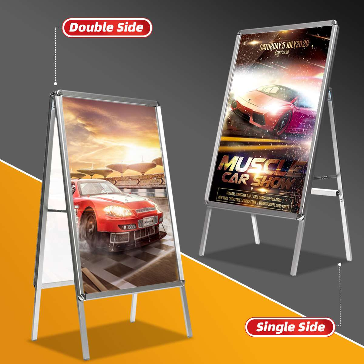 Aluminum Alloy Banner Display Stand Assembly Poster Stand Frame Banner Presentation Advertisement Display Shelf Holder Folding