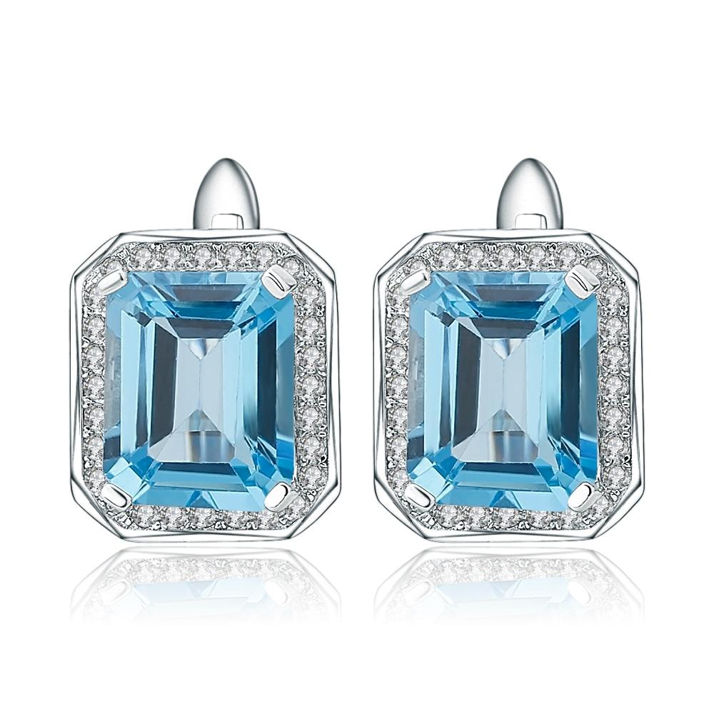 Gem's Ballet  925 Sterling Silver Earrings 8.46Ct Octagon Natural Swiss Blue Topaz Gemstone Clip Earrings for Women Fine Jewelry