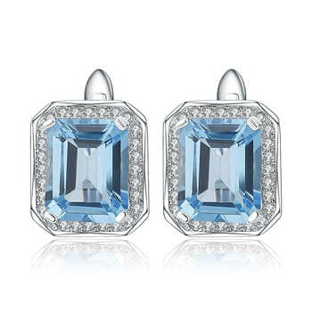 Gem's Ballet  925 Sterling Silver Earrings 8.46Ct Octagon Natural Swiss Blue Topaz Gemstone Clip Earrings for Women Fine Jewelry - DISCOUNT ITEM  47% OFF All Category