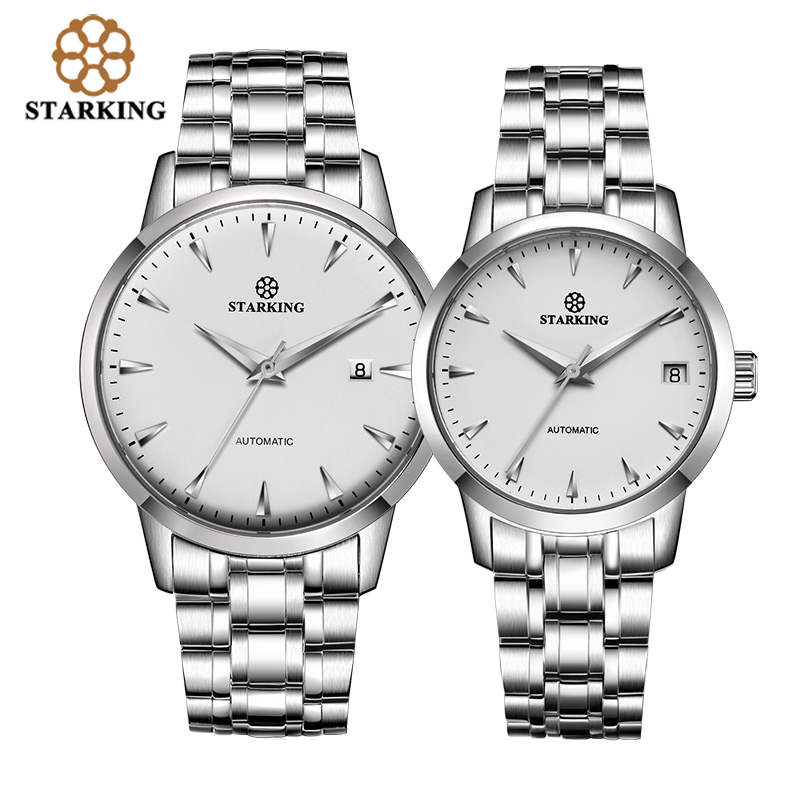 STARKING Couples Watch Fashion Brand Stainless Steel Unisex Wristwatches Automatic Mechanical Lover Watches Relogios Masculinos