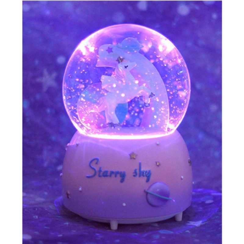Unicornio cristal nieve globos caja musical de vidrio casa Oficina cafetería decoración Navidad San Valentín regalo