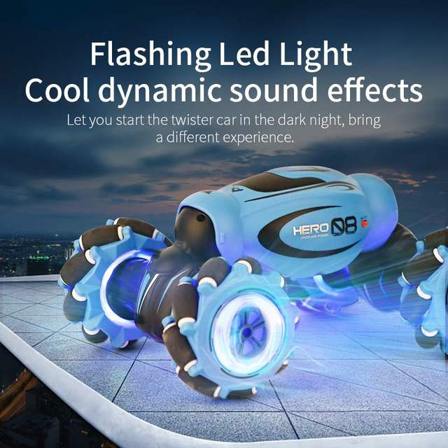 D876 1:16 4WD RC Car Radio Gesture Induction Music Light Twist High Speed Stunt Remote Control off Road Drift Vehicle Car Model 2
