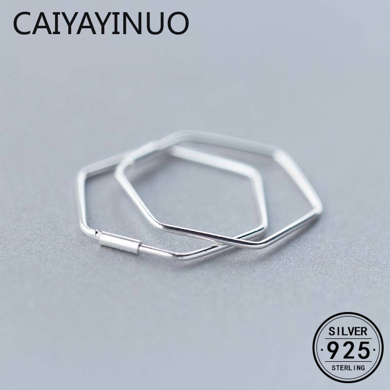 Real 925 Sterling Silver Minimalist Geometric Hollow Polygon Hoop Earrings for Women Party Fine Jewelry Accessories Gift