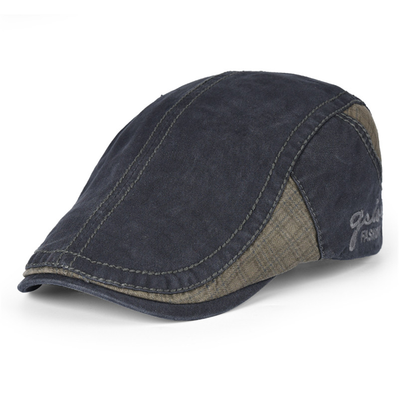 Unisex Fashion Spring Autumn Vintage Simple Solid Beret Buckle Flat Caps Retro Style Denim Berets Leisure Hat For Womens Men