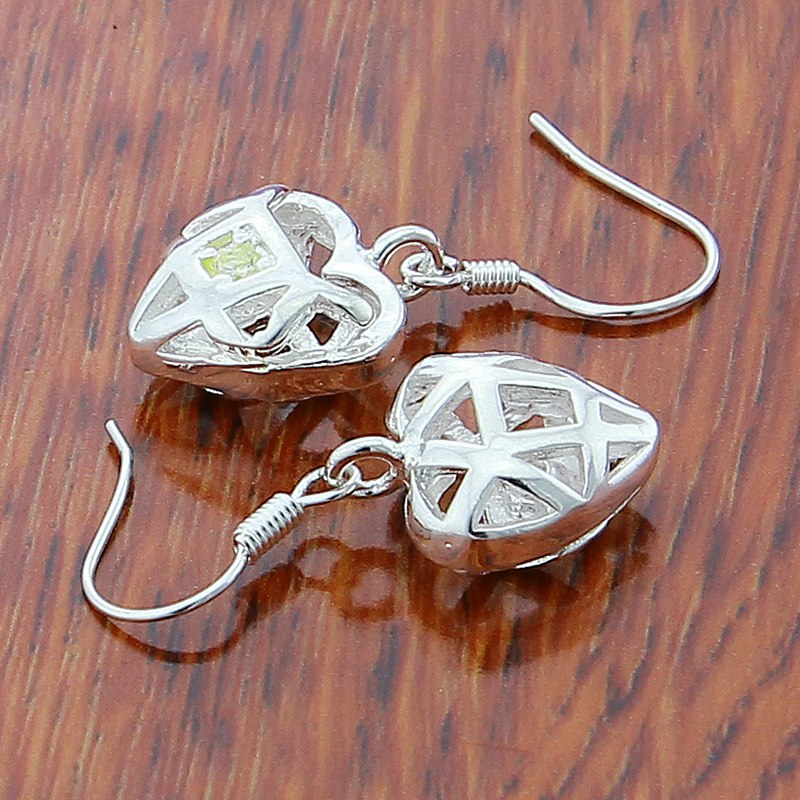 New Arrival Fashion Love heart Earring 925 Sterling Silver Cubic Zircon Jewelry Elegant Hollow Drop Earrings Wholesale in Drop Earrings from Jewelry Accessories