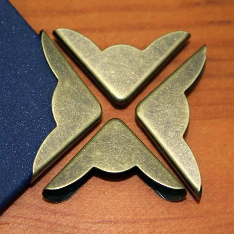 8pc Retro Metal Protectors Angle Bronze Corner Brackets Notebook Framing For Books Folders Scrapbooking Decor Crafts Hardware