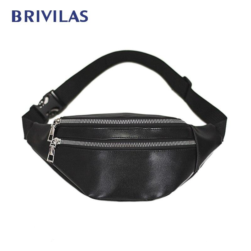 Brivilas pu leather waist bag women waterproof men fanny pack fashion sport belt bag banana multifunction chest bag shoulder new