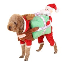 Christmas Dress Up Party Lovely Hoodies Funny Cosplay Santa Claus Carry Gift Cloth Pet Dog Puppy Costume