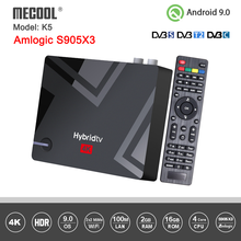 Mecool K5 Android Box DVB S2 DVB T2 Amlogic S905X3 Android 9,0 четырехъядерный 2 Гб 16 Гб DVB T2 S2 4K двойной Wifi PVR записывающий ТВ-бокс