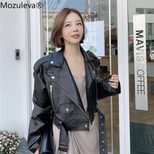 Mozuleva 2020 Winter Coat Retro High Street Turn-down Neck Women PU Leather Jacket Short Black Faux Leather Jacket Female Loose