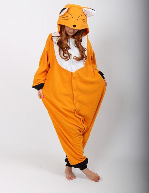 New Adult Animal Sleepsuit Fox Pajamas Costume Cosplay Onesie Fancy Costume Hoodies Pyjamas Sleepwear(China)