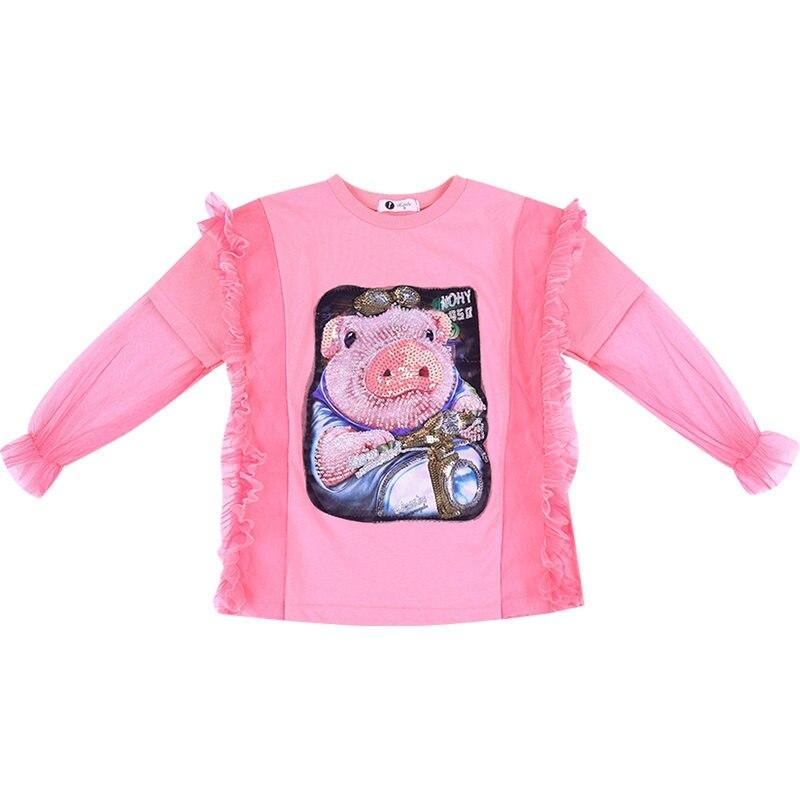 Купить с кэшбэком Girls Tshirt Fashion Cute Cartoon Pig Shape Tshirt Print for Girls Teenage Clothes Lace Long Tshirt Petal Sleeve Tops for Girls