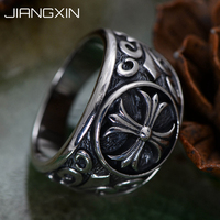 14.3g 925 Sterling Silver Crusader flower Ring Cross Vintage Jewelry for Men Women