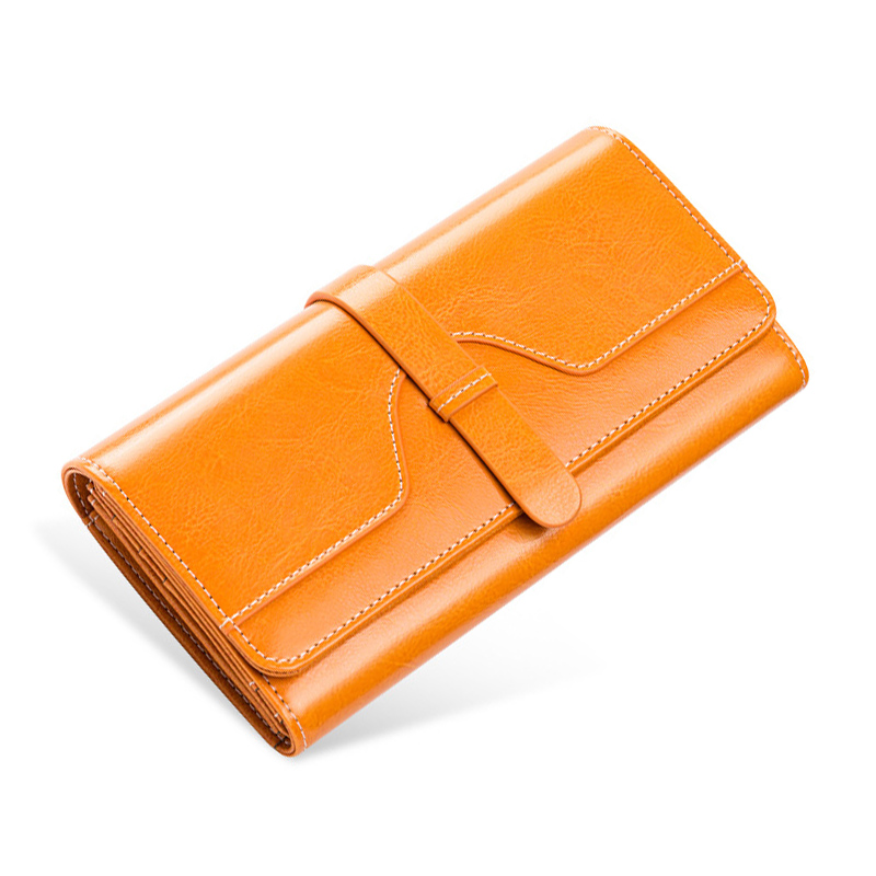 Genuine Leather Women Wallet with Card Holder Womens Wallets Long Oil Wax Leather Female Purse Retro Wallet Yellow Big Capacity