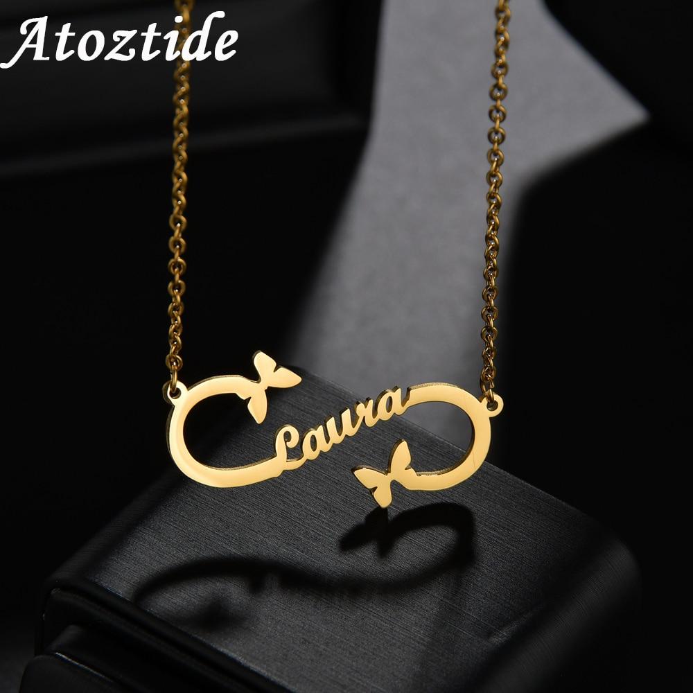Atoztide 2020 Новинка с персонализированным символом бесконечности для женщин, табличка с бабочкой, ювелирное изделие из нержавеющей стали на за...