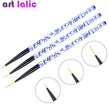 3pcs/set Nail Art Line Painting Pen 3D Tips Acrylic UV Gel Brushes Drawing Crystal Liner Glitter French Design Manicure Tool - discount item  27% OFF Nail Art & Tools